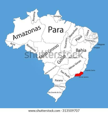 Rio De Janeiro Brazil Vector Map Stock Vector (Royalty Free ...