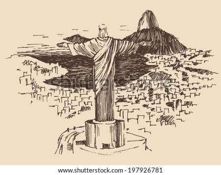 Rio de Janeiro city, Brazil vintage engraved illustration, Jesus Christ,  hand drawn - stock vector