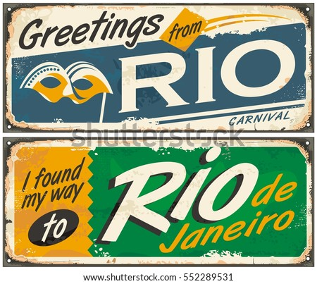 Rio de janeiro greetings brazil retro stock vector 552289531 rio de janeiro greetings from brazil retro tin signs set on old metal texture m4hsunfo