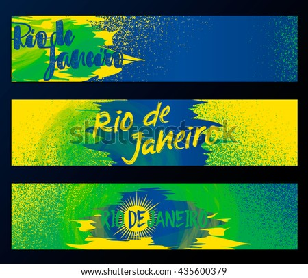 Rio De Janeiro Horizontal Banners Poster Template Set Isolated On Black Background With Rubber