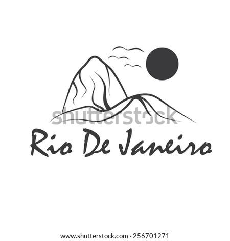 rio de janeiro illustration with sugar head hill - stock vector