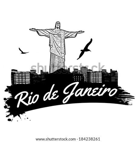Rio de Janeiro in vintage style poster, vector illustration - stock vector