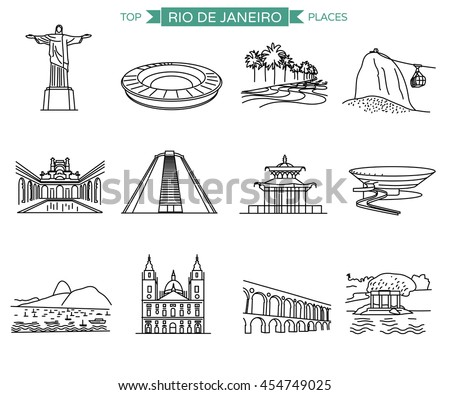 Rio de Janeiro landmarks and top places to visit. Line icons vector set of 12 most popular city sights. - stock vector