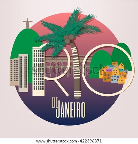 Rio De Janeiro  - paper style square card. Vector illustration. - stock vector
