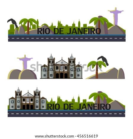 Rio de Janeiro skyline. Brazil. Rio travel. Rio de Janeiro vector illustration.Showplace Rio. Sight  Brazil. Monastery of St.Benedict.Facade of the Sao Bento Monastery.Toucan.Rio.Christ the Redeemer.  - stock vector
