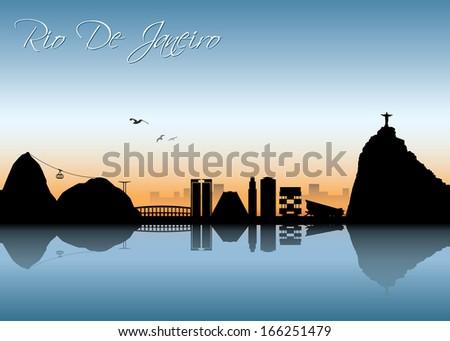 Rio De Janeiro skyline - vector illustration - stock vector