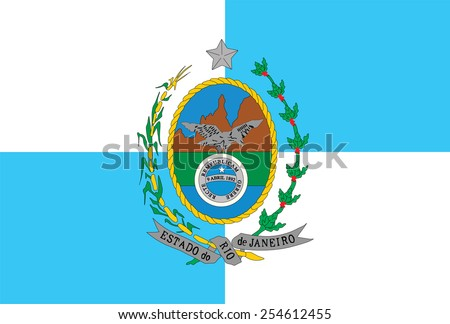 Rio de Janeiro State Flag, Brazil. original and simple Rio De Janeiro flag isolated vector in official colors and Proportion Correctly  - stock vector