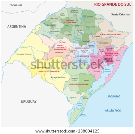 rio grande do sul administrative map, region/microregion