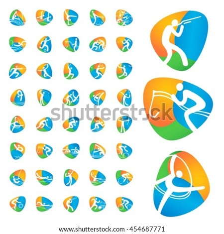 Rio summer Olympic games icons vector illustration