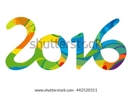 Rio vector 2016 Brazil Summer 2016 Games Rio de Janeiro hand drawn digits with abstract colorful backdrop isolated on white background. Rio sport games background 2016, Rio de Janeiro, Brazil - stock vector