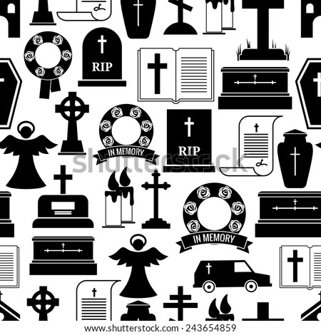 RIP and funeral background pattern. Black silhouettes of tombstones, crosses, candles, urns on a white background. Vector illustration - stock vector