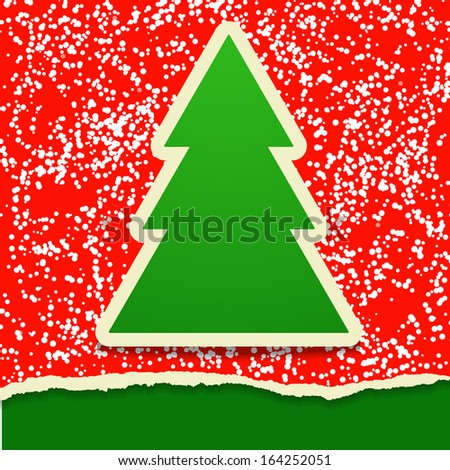 Rip paper card with Christmas tree - stock vector