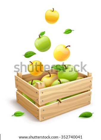 Ripe apple fruits falling into the wooden box. vector illustration. Isolated on white background. Transparent objects used for lights and shadows drawing. - stock vector