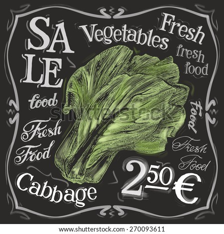 ripe cabbage vector logo design template. fresh food, vegetables  or menu board icon. - stock vector