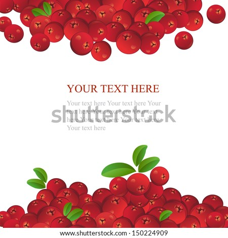Ripe cranberries with leaves on white background - stock vector