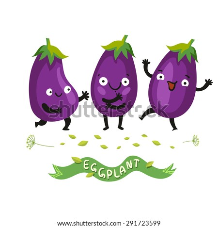 Ripe fresh eggplant or aubergine set of cartoon cute characters with violet smooth skin. Vector colorful illustration in flat style isolated on white - stock vector
