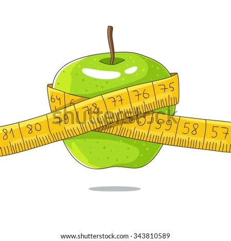 Ripe green apple and yellow measuring tape. Vector illustration on a white background, painted by hand. - stock vector