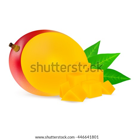 Ripe mango fruits with slices isolated on white background. Realistic vector illustration. - stock vector