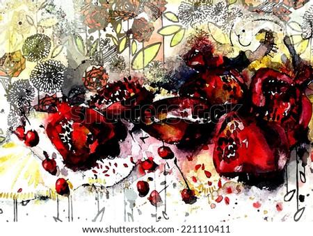 Ripe pomegranate fruit, watercolor illustration - stock vector