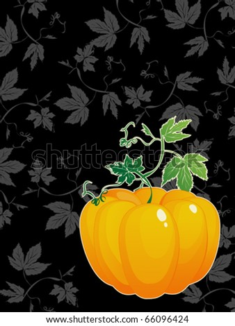 ripe  pumpkin  with green leaves greeting card for Thanksgiving Day - stock vector