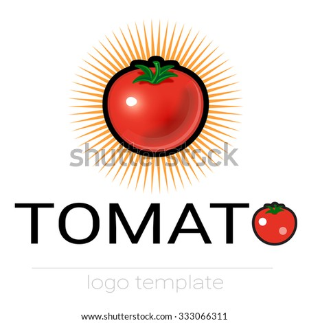 Ripe red tomatoes with green tail icon. Tomato vector logo sign label.