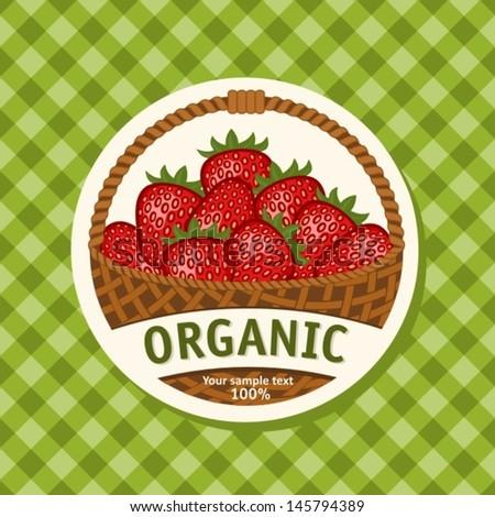 Ripe Strawberries in Wicker Basket. Vector Illustration - stock vector