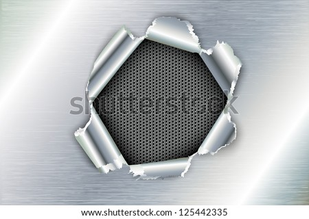 ripped a hole in metal - stock vector