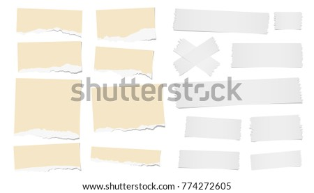 Ripped blank note, notebook paper strips, adhesive, sticky tape for text or message stuck on white background