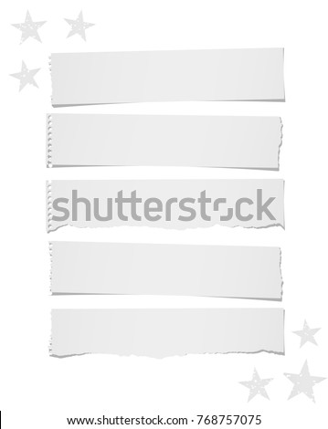 Ripped blank note, notebook paper strips for text or message stuck on white background with stars.