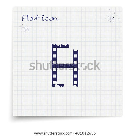 Ripped film strip. Celluloid icon. - stock vector