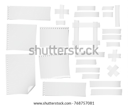 Ripped lined, squared, note, notebook paper sheets and masking, adhesive tape for text or message stuck on white background.