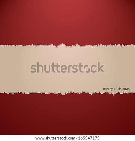 Ripped paper christmas background - stock vector