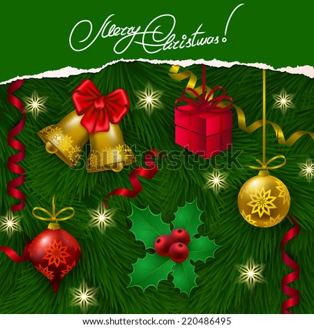 Ripped paper frame design. Festive background with realistic balls, bells, holly berries, gift, serpentine, Christmas trees for greeting card, invitation, congratulation. Vector illustration EPS10. - stock vector