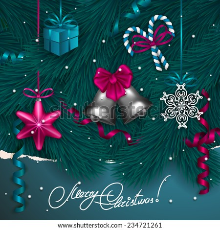 Ripped paper frame design. Festive background with realistic baubles, bells, lollipops, gift, serpentine, Christmas trees for greeting card, invitation, congratulation. Vector illustration EPS10. - stock vector