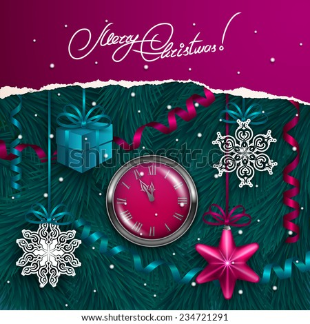 Ripped paper frame design. Festive background with realistic baubles, snowflakes, clocks, gift, serpentine, Christmas trees for greeting card, invitation, congratulation. Vector illustration EPS10. - stock vector