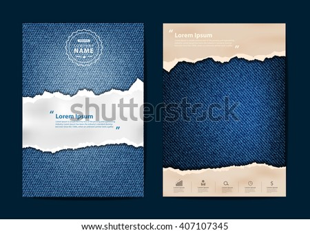 Ripped paper on texture of jeans background, Business brochure flyer design layout template in A4 size, Vector illustration modern design