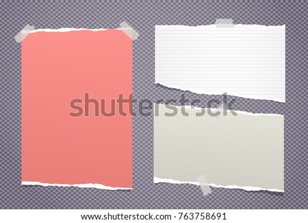 Ripped paper strips, notebook sheets for note or message stuck with sticky tape on squared purple background