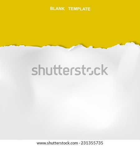 ripped paper template isolated on yellow background  - stock vector