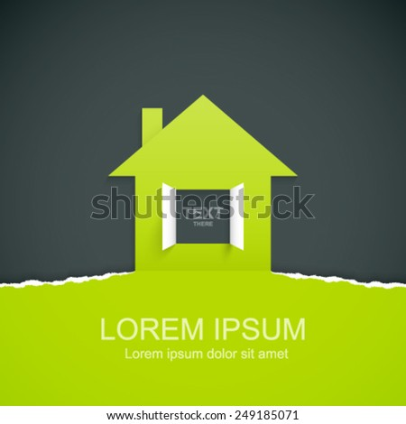 Ripped paper with house symbol. Easy to change color. - stock vector