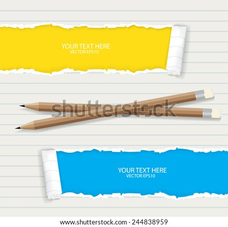 Ripped paper with pencil  - stock vector