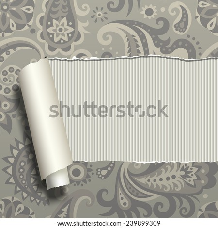 Ripped paper with vintage floral ornament on the textured background. Vector illustration - stock vector