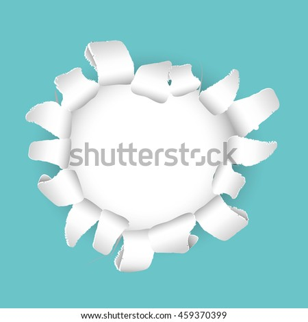 Ripped paper with white hole vector background