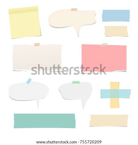 Ripped vector notebook, note paper, sticky, adhesive tape, with speech bubble for text or message isolated on white background.