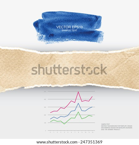 Ripped vintage paper texture with business graph and abstract watercolor brushed. Vector infographic background for template design. - stock vector