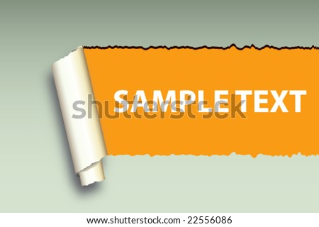 Ripped Wall Paper With Sample Text To Be Applied On Orange Background  -Vector Art- - stock vector