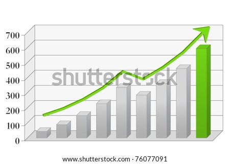 Risen 3D graph - stock vector
