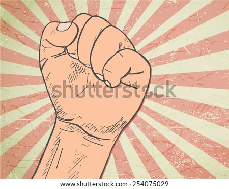 rising fist - hand-drawn illustration  - stock vector