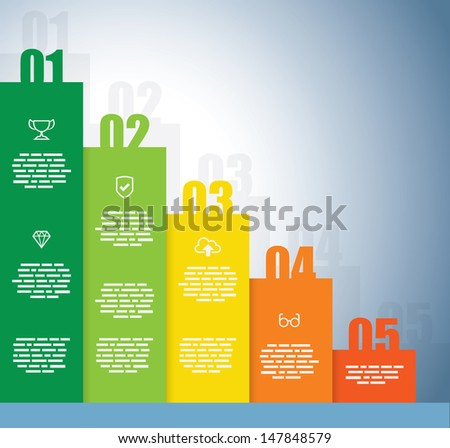 Rising Graph with a numbers on each bar - stock vector