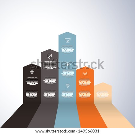 Rising graph with icons - stock vector