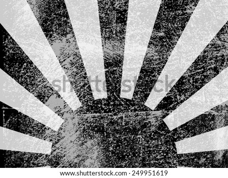 Rising or setting sun with sun rays in Black and white. Vector - stock vector